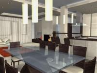 Látványtervek - Modern étkezőből konyha