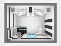 Látványtervek - Modern fürdő felülnézet