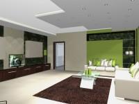 Látványtervek - Modern zöld nappali