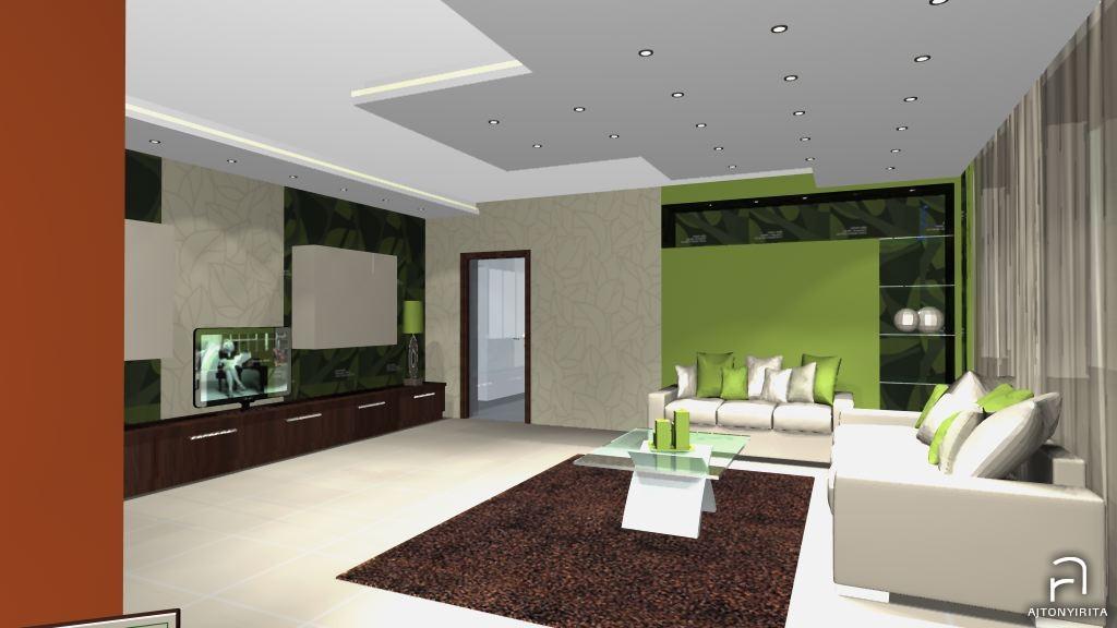 Látványtervek – Modern zöld nappali  Ajtonyi Rita