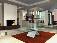 Látványtervek - Modern nappali és étkező