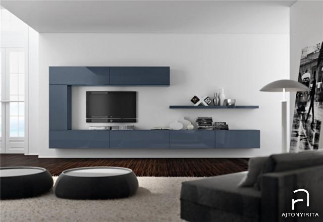 Szürkés-acélkék festett nappali bútor