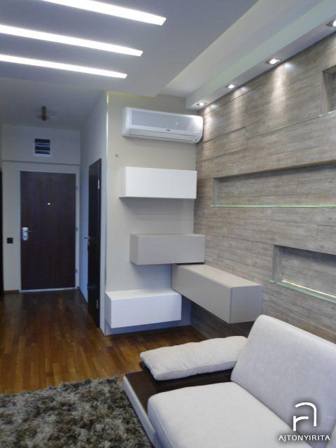 Ajtonyi Rita lakberendező belsőépítész referencia fotói Marina parti lakás - Modern nappali fali bútorok